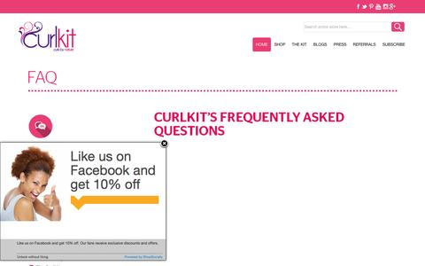 Screenshot of FAQ Page curlkit.com - FAQ   Curlkit's Frequently Asked Questions - Curlkit - captured Dec. 14, 2015