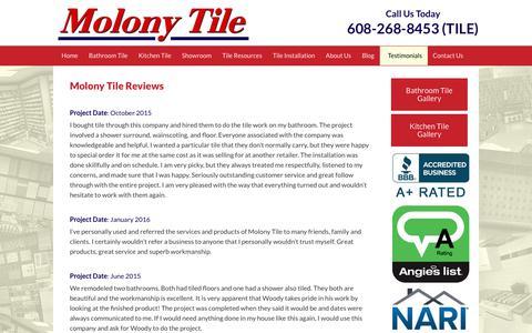 Screenshot of Testimonials Page molonytile.com - TestimonialsMolony Tile   Molony Tile - captured June 19, 2017