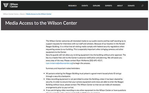 Screenshot of Press Page wilsoncenter.org - Media Access to the Wilson Center | Wilson Center - captured Nov. 30, 2016