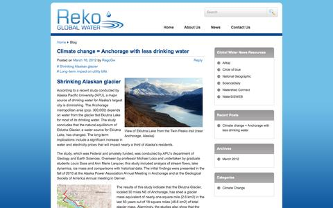 Screenshot of Blog rekogw.com - Blog | Reko Global Water | Pure water for healthy tomorrow - captured Sept. 17, 2014