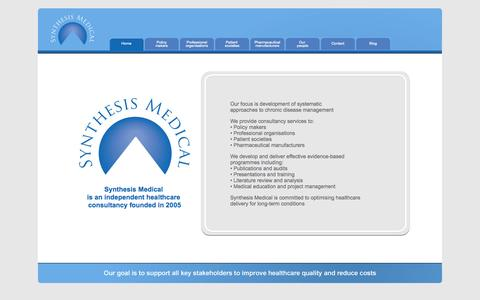 Screenshot of Home Page synthesismedical.com - Synthesis Medical - captured Oct. 6, 2014