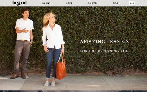 Screenshot of Home Page begoodclothes.com - BeGood Clothing | Premium Eco-Friendly Clothing - captured Sept. 19, 2014