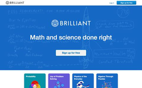 Screenshot of Home Page brilliant.org - Brilliant | Math and science done right - captured Aug. 5, 2017