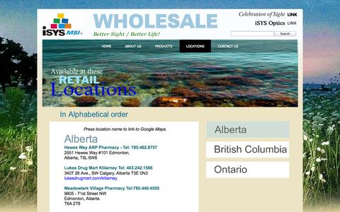 Screenshot of Locations Page isysmsi.com - Locations - captured Oct. 6, 2014