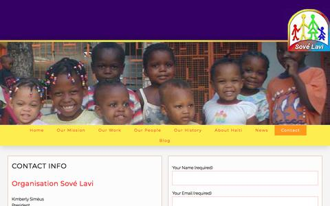 Screenshot of Contact Page sovelavi.org - Contact - Organisation Sové Lavi (Saving Lives) - captured June 30, 2018