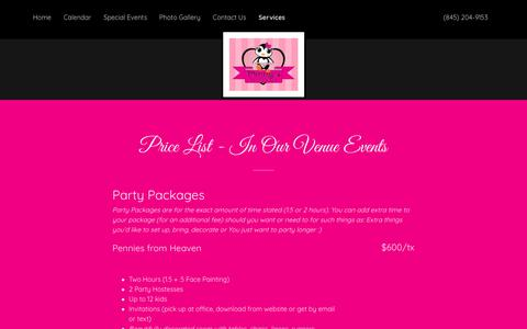 Screenshot of Services Page pennyspartyplace.com - Services   Penny's Party Place - captured Oct. 22, 2018