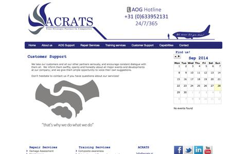 Screenshot of Support Page acrats.nl - Customer Support - Acrats - captured Sept. 30, 2014