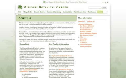 Screenshot of About Page missouribotanicalgarden.org - About Us - captured Sept. 22, 2014