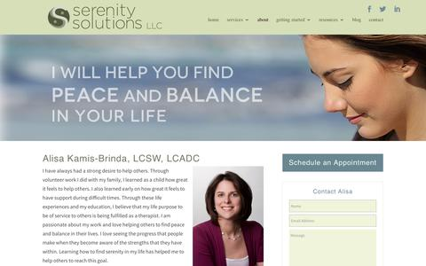 Screenshot of About Page serenitysolutionstherapy.com - About Alisa Kamis-Brinda | Serenity Solutions Therapy | Philadelphia, PA - captured Feb. 17, 2016