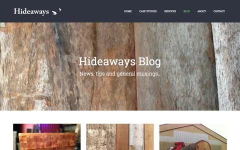 Screenshot of Blog hide-aways.co.uk - Hideaways Blog | Hideaways – Reclaimed Timber and Cladding - captured Oct. 2, 2014