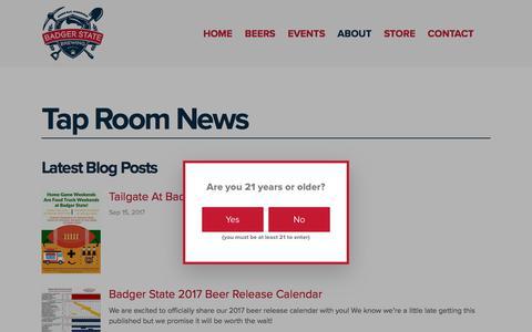 Screenshot of Press Page badgerstatebrewing.com - News — Badger State Brewing - captured Oct. 9, 2017