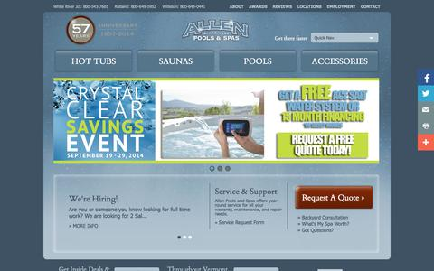 Screenshot of Home Page allenpools-spas.com - Hot Tubs Williston, Rutland, White River Junction, Vermont - captured Sept. 30, 2014