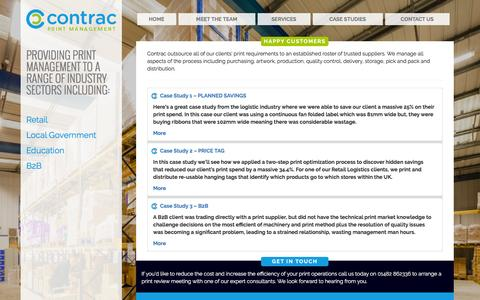 Screenshot of Case Studies Page contracprintmanagement.co.uk - Case Studies - Contrac Print Management - captured July 15, 2016