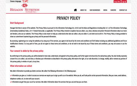 Screenshot of Privacy Page hexagonnutrition.com - Privacy Policy | Hexagon Nutrition - captured July 7, 2017