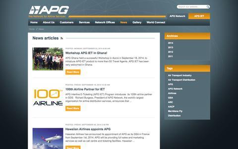 Screenshot of Press Page apg-ga.com - News - APG Network - captured Oct. 4, 2014