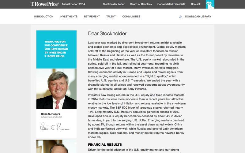 T. Rowe Price - Stockholder Letter