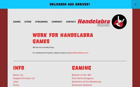 Screenshot of Jobs Page handelabra.com - Jobs — Handelabra Games - captured March 21, 2019