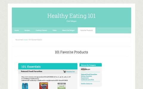 Screenshot of Products Page healthyeating101.com - 101 Favorite Products - captured Dec. 9, 2015