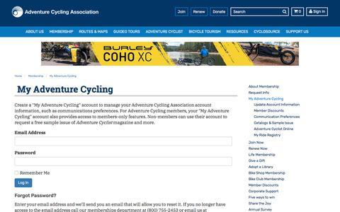 Screenshot of Login Page adventurecycling.org - My Adventure Cycling | Membership | Adventure Cycling Association - captured Sept. 24, 2018