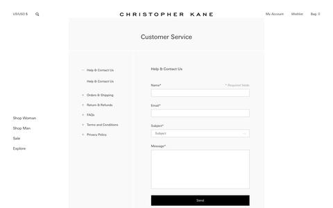 Screenshot of FAQ Page Support Page Terms Page christopherkane.com - Christopher Kane Customer Service - captured July 9, 2018