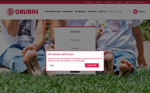 Screenshot of Login Page grubinshoes.com.au - Customer Login - captured Dec. 12, 2018
