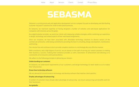 Screenshot of About Page sebasma.com - Website Design | Website Development | E-Commerce website | CMS - Sebasma Infotech - captured Oct. 18, 2018