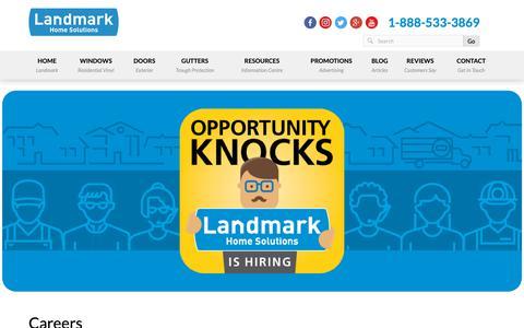 Screenshot of Jobs Page landmarkquality.com - Careers | Landmark Home Solutions - captured Sept. 27, 2018