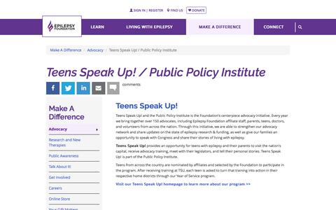 Teens Speak Up! / Public Policy Institute | Epilepsy Foundation