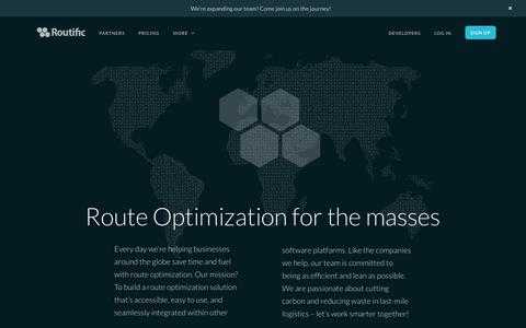Screenshot of About Page routific.com - Route Optimization - About Us - captured April 28, 2016