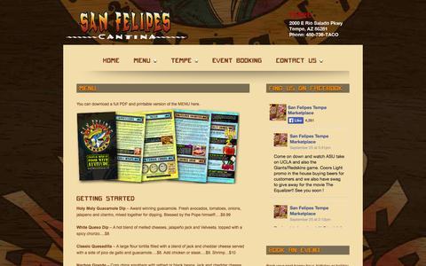 Screenshot of Menu Page sanfelipescantina.com - Mexican Restaurant Menu for Lunch, Dinner and Late Nite | San Felipes Cantina - captured Sept. 30, 2014
