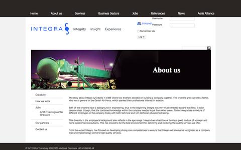 Screenshot of About Page integra.dk - About us | Integra - captured Feb. 2, 2016