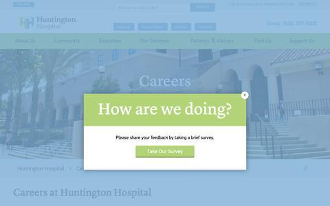 Screenshot of Jobs Page huntingtonhospital.org - Careers | Huntington Hospital - captured Nov. 2, 2018