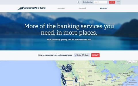 Screenshot of Locations Page awbank.net - More of the banking services you need, in more places. - captured Sept. 22, 2014