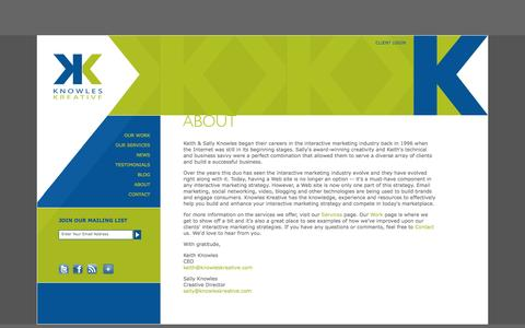 Screenshot of About Page knowleskreative.com - Knowles Kreative :: Strategic Interactive Marketing Solutions :: Web Site Design :: Graphic Design :: West Hartford CT :: About - captured Sept. 30, 2014