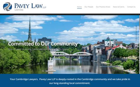 Screenshot of Home Page paveylaw.com - Pavey Law LLP - captured July 16, 2017
