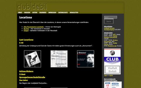 Screenshot of Locations Page club-debil.com - Locations, in denen der club|debil zuhause ist - captured June 14, 2018