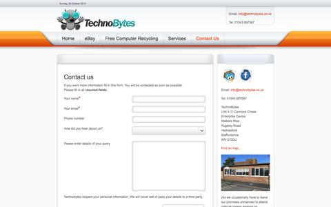 Screenshot of Contact Page technobytes.co.uk - Contact Us - captured Oct. 26, 2014
