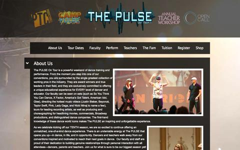 Screenshot of About Page thepulseontour.com - About Us | The PULSE on Tour - captured Oct. 9, 2014