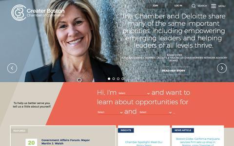 Screenshot of Home Page bostonchamber.com - Greater Boston Chamber of Commerce   Home   Greater Boston Chamber of Commerce - captured Sept. 19, 2017