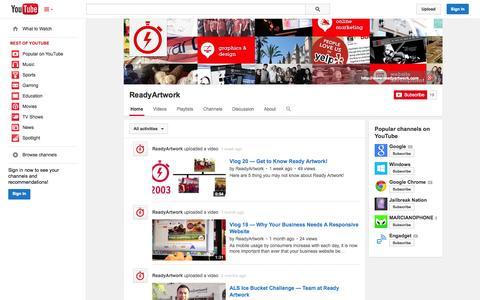 Screenshot of YouTube Page youtube.com - ReadyArtwork  - YouTube - captured Oct. 26, 2014