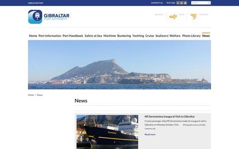 Screenshot of Press Page gibraltarport.com - News | Gibraltar Port Authority - captured Nov. 6, 2016