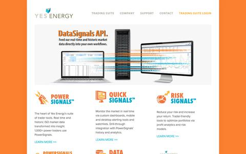 Screenshot of Home Page yesenergy.com - Yes Energy - captured Dec. 11, 2018