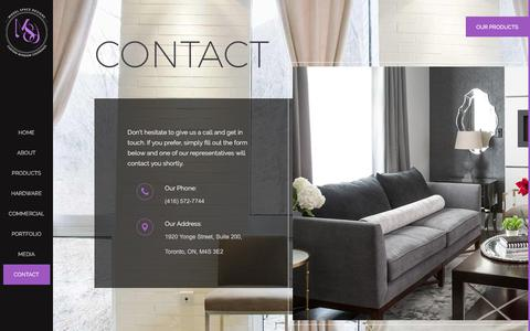 Screenshot of Contact Page modelspacedesigns.ca - CONTACT | MSD (416) 572-7744 | Drapes, Blinds & FabricCo - captured Nov. 3, 2017