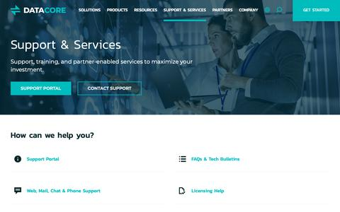 Screenshot of Support Page datacore.com - Support & Services - DataCore Software - captured March 28, 2019
