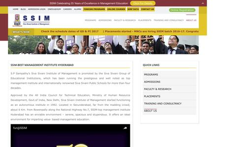Screenshot of About Page ssim.ac.in - management institute hyderabad - captured Dec. 19, 2016
