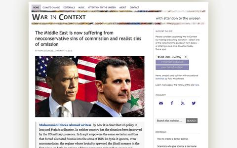 Screenshot of Home Page warincontext.org - War in Context – ... with attention to the unseen - captured Jan. 15, 2016