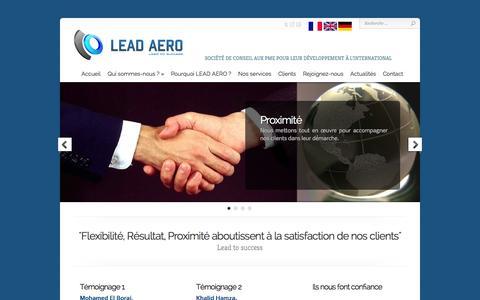 Screenshot of Home Page lead-aero.com - LEAD AERO - captured Sept. 26, 2014