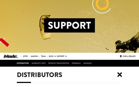 Screenshot of Support Page bladekites.com - Support | Blade Kiteboarding - 2016 New Website - captured Dec. 7, 2015