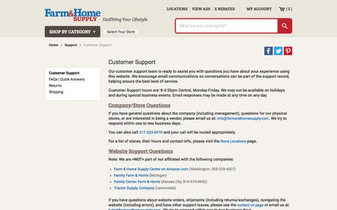 Screenshot of Support Page farmandhomesupply.com - Customer Support - captured Sept. 22, 2018