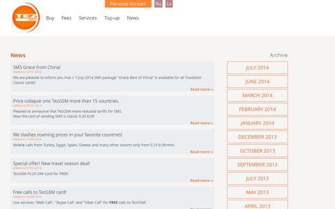 Screenshot of Press Page tezgsm.com - TezGSM CLUB Prepaid Visa Card - captured Oct. 9, 2014